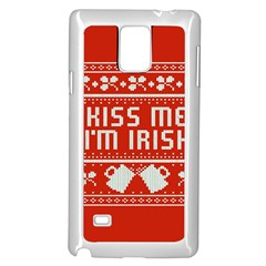 Kiss Me I m Irish Ugly Christmas Red Background Samsung Galaxy Note 4 Case (white)