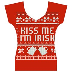 Kiss Me I m Irish Ugly Christmas Red Background Women s V-Neck Cap Sleeve Top