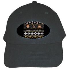 Merry Nerdmas! Ugly Christma Black Background Black Cap