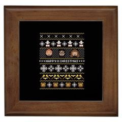 Merry Nerdmas! Ugly Christma Black Background Framed Tiles