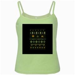 Merry Nerdmas! Ugly Christma Black Background Green Spaghetti Tank