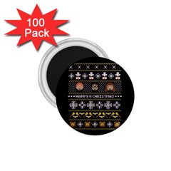 Merry Nerdmas! Ugly Christma Black Background 1 75  Magnets (100 Pack)