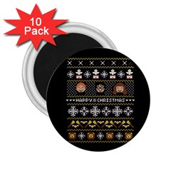 Merry Nerdmas! Ugly Christma Black Background 2.25  Magnets (10 pack)