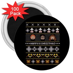 Merry Nerdmas! Ugly Christma Black Background 3  Magnets (100 pack)