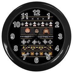 Merry Nerdmas! Ugly Christma Black Background Wall Clocks (Black)