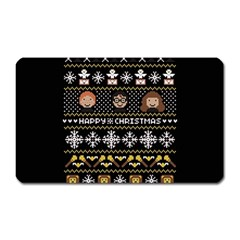 Merry Nerdmas! Ugly Christma Black Background Magnet (Rectangular)