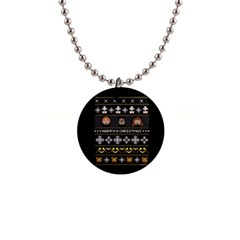 Merry Nerdmas! Ugly Christma Black Background Button Necklaces