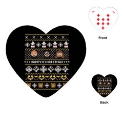 Merry Nerdmas! Ugly Christma Black Background Playing Cards (Heart)