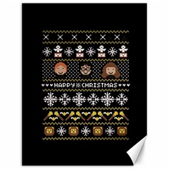 Merry Nerdmas! Ugly Christma Black Background Canvas 12  x 16
