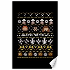Merry Nerdmas! Ugly Christma Black Background Canvas 24  X 36