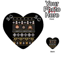 Merry Nerdmas! Ugly Christma Black Background Playing Cards 54 (Heart)