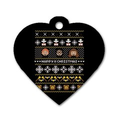 Merry Nerdmas! Ugly Christma Black Background Dog Tag Heart (Two Sides)