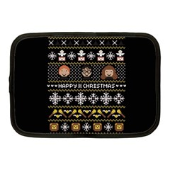 Merry Nerdmas! Ugly Christma Black Background Netbook Case (Medium)