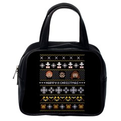 Merry Nerdmas! Ugly Christma Black Background Classic Handbags (One Side)