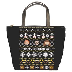 Merry Nerdmas! Ugly Christma Black Background Bucket Bags