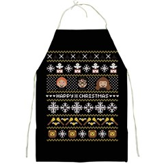 Merry Nerdmas! Ugly Christma Black Background Full Print Aprons