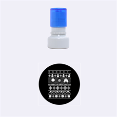 Merry Nerdmas! Ugly Christma Black Background Rubber Round Stamps (Small)