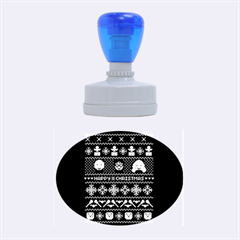 Merry Nerdmas! Ugly Christma Black Background Rubber Oval Stamps