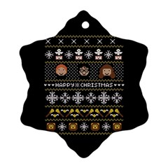 Merry Nerdmas! Ugly Christma Black Background Snowflake Ornament (2-Side)