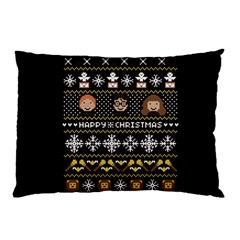 Merry Nerdmas! Ugly Christma Black Background Pillow Case (two Sides)
