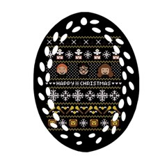 Merry Nerdmas! Ugly Christma Black Background Oval Filigree Ornament (2-Side)