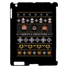 Merry Nerdmas! Ugly Christma Black Background Apple iPad 2 Hardshell Case (Compatible with Smart Cover)