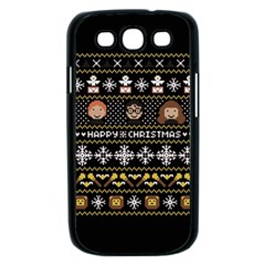 Merry Nerdmas! Ugly Christma Black Background Samsung Galaxy S III Case (Black)