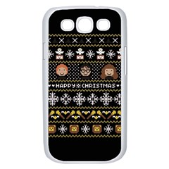 Merry Nerdmas! Ugly Christma Black Background Samsung Galaxy S III Case (White)