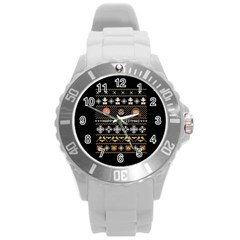Merry Nerdmas! Ugly Christma Black Background Round Plastic Sport Watch (L)