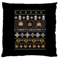 Merry Nerdmas! Ugly Christma Black Background Large Cushion Case (One Side)