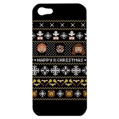 Merry Nerdmas! Ugly Christma Black Background Apple iPhone 5 Hardshell Case