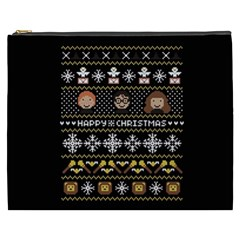 Merry Nerdmas! Ugly Christma Black Background Cosmetic Bag (XXXL)