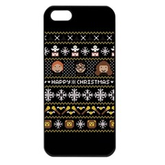 Merry Nerdmas! Ugly Christma Black Background Apple iPhone 5 Seamless Case (Black)