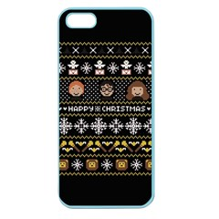 Merry Nerdmas! Ugly Christma Black Background Apple Seamless iPhone 5 Case (Color)