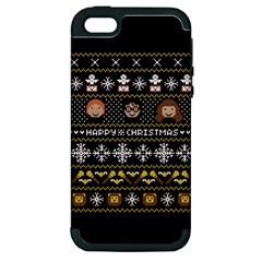 Merry Nerdmas! Ugly Christma Black Background Apple iPhone 5 Hardshell Case (PC+Silicone)