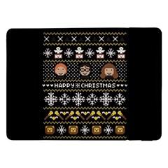 Merry Nerdmas! Ugly Christma Black Background Samsung Galaxy Tab Pro 12 2  Flip Case