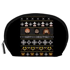 Merry Nerdmas! Ugly Christma Black Background Accessory Pouches (Large)