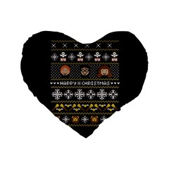 Merry Nerdmas! Ugly Christma Black Background Standard 16  Premium Flano Heart Shape Cushions