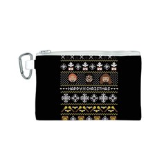 Merry Nerdmas! Ugly Christma Black Background Canvas Cosmetic Bag (S)
