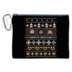 Merry Nerdmas! Ugly Christma Black Background Canvas Cosmetic Bag (XXL)