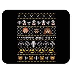 Merry Nerdmas! Ugly Christma Black Background Double Sided Flano Blanket (Medium)