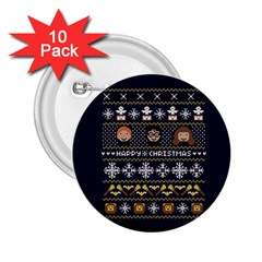 Merry Nerdmas! Ugly Christmas Blue Background 2.25  Buttons (10 pack)