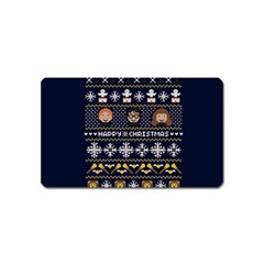 Merry Nerdmas! Ugly Christmas Blue Background Magnet (name Card)