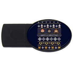 Merry Nerdmas! Ugly Christmas Blue Background USB Flash Drive Oval (1 GB)