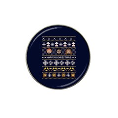Merry Nerdmas! Ugly Christmas Blue Background Hat Clip Ball Marker (4 pack)