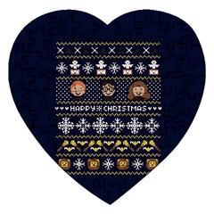 Merry Nerdmas! Ugly Christmas Blue Background Jigsaw Puzzle (Heart)