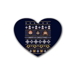 Merry Nerdmas! Ugly Christmas Blue Background Heart Coaster (4 Pack)