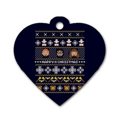 Merry Nerdmas! Ugly Christmas Blue Background Dog Tag Heart (Two Sides)