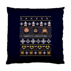 Merry Nerdmas! Ugly Christmas Blue Background Standard Cushion Case (One Side)