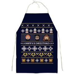 Merry Nerdmas! Ugly Christmas Blue Background Full Print Aprons